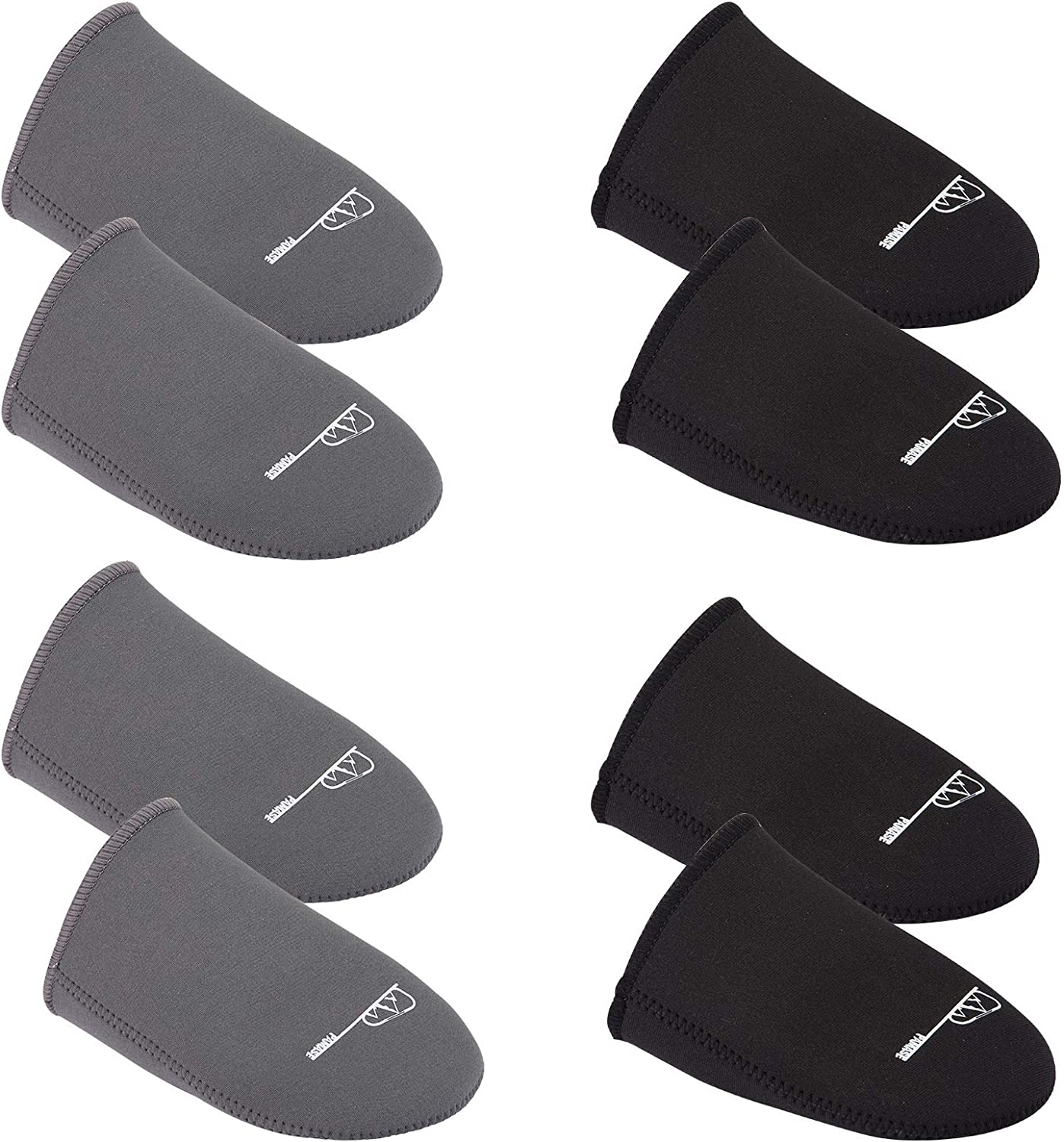 PAMASE 4 Pairs Neoprene Toe Warmer- Black and Gray Neoprene Toe Covers Thermal Insulation Toe Warmers Wear Inside Shoes Boots for Winter Outdoor Sports Cycling Camping Hiking (S/M/L/XL)