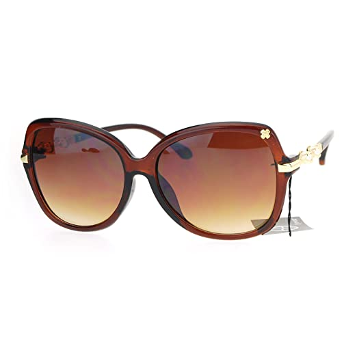 2ba2d0d9fa SA106 Womens Pearl Jewel Arm Luxury Diva Butterfly Designer Sunglasses Brown