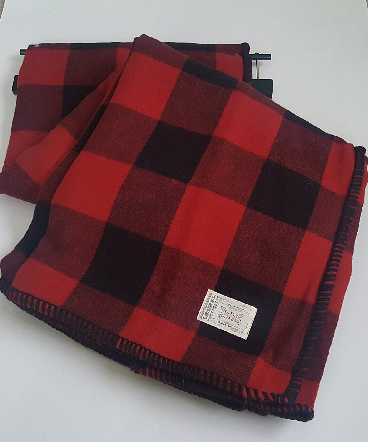 Lauren Ralph Lauren Buffalo Plaid Brushed Cotton Throw Blanket Red Black Check Checkered Bedding