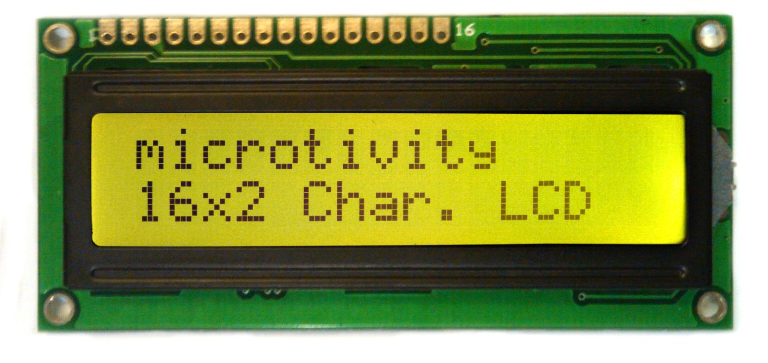 microtivity IM162 LCD Module 1602, Black on Green with Backlight