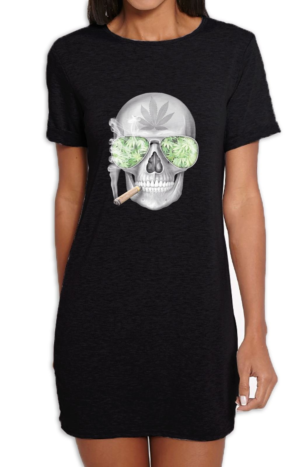 Tribal T-Shirts Skull Smoking Cannabis Women's T-Shirt Dress