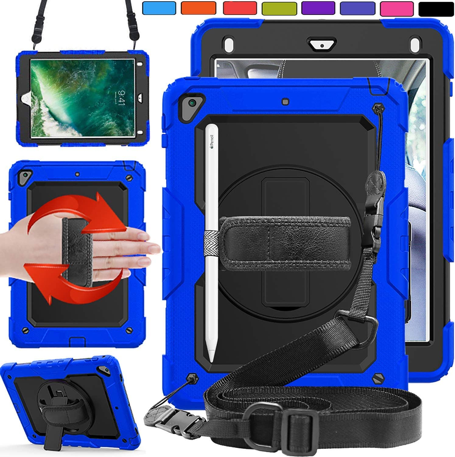 DuraSafe Cases for iPad Mini 4th 5th Gen 7.9 [ Mini 5 4 Gen ] Full-Body Protective Shock Proof Cover with Shoulder Strap - Blue