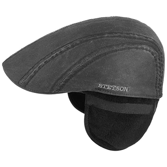 cca16a28641 Stetson Old Cotton Flat Cap with Ear Flaps hat  Amazon.co.uk  Clothing