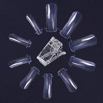 bonniestore 5pcs Poly Crystal Gel rápida edificio uñas clip con 100 piezas rápida edificio Mold uñas doble Formas dedo extensión para UV Gel Builder uñas ...