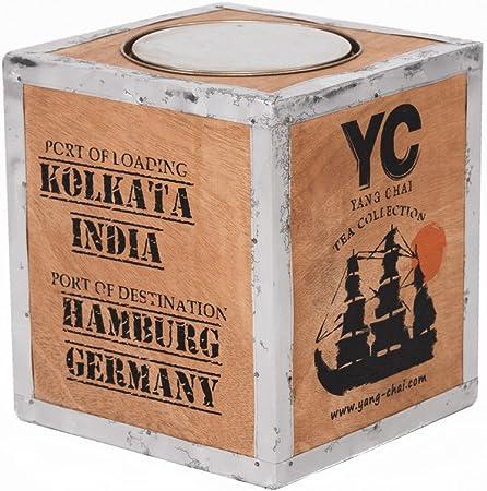 Original Caja de té de madera – Caja de té Darjeeling – Vintage importado – Caja de té – Tamaño 26 x 23 x 23: Amazon.es: Hogar