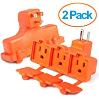 2-Pack ClearMax 3 Outlet Heavy Duty Indoor Outdoor Power Splitter with Outlet Covers