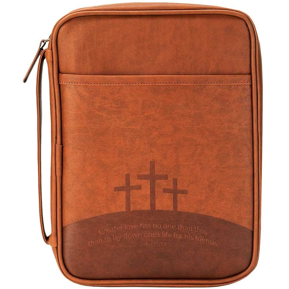 Three Crosses Brown 9 x 11 inch Leather Like Vinyl Bible Cover Case with Handle Large