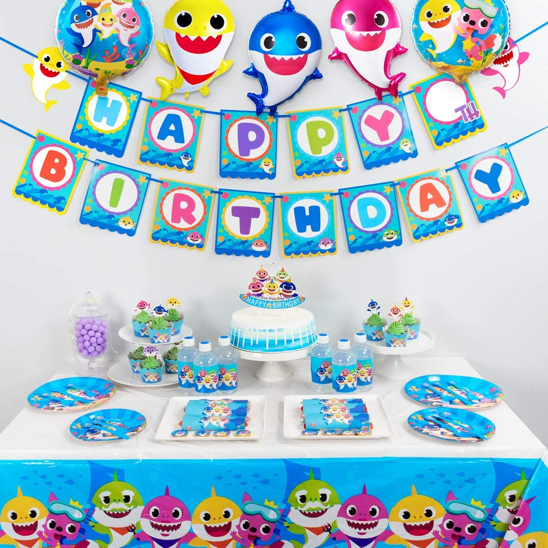 Mega Shark Party Decorations for Baby,140 Pcs Shark Birthday Party Supplies,Shark Themed Birthday Party Packs with Balloons,Banner,Tablecloth,Tableware,Cupcake Toppers and Wrappers,Bottle Labels, Chocolate Stickers for Boys Girls Kids