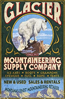 product image for Glacier National Park, Montana - Mountain Goat Vintage Sign (12x18 Art Print, Wall Decor Travel Poster)
