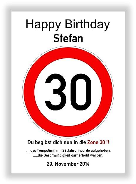Kunstdruck   Verkehrszeichen 30   Verkehrsschild   Hinweisschild    Geschenkidee 30. Geburtstag Schild   Bild