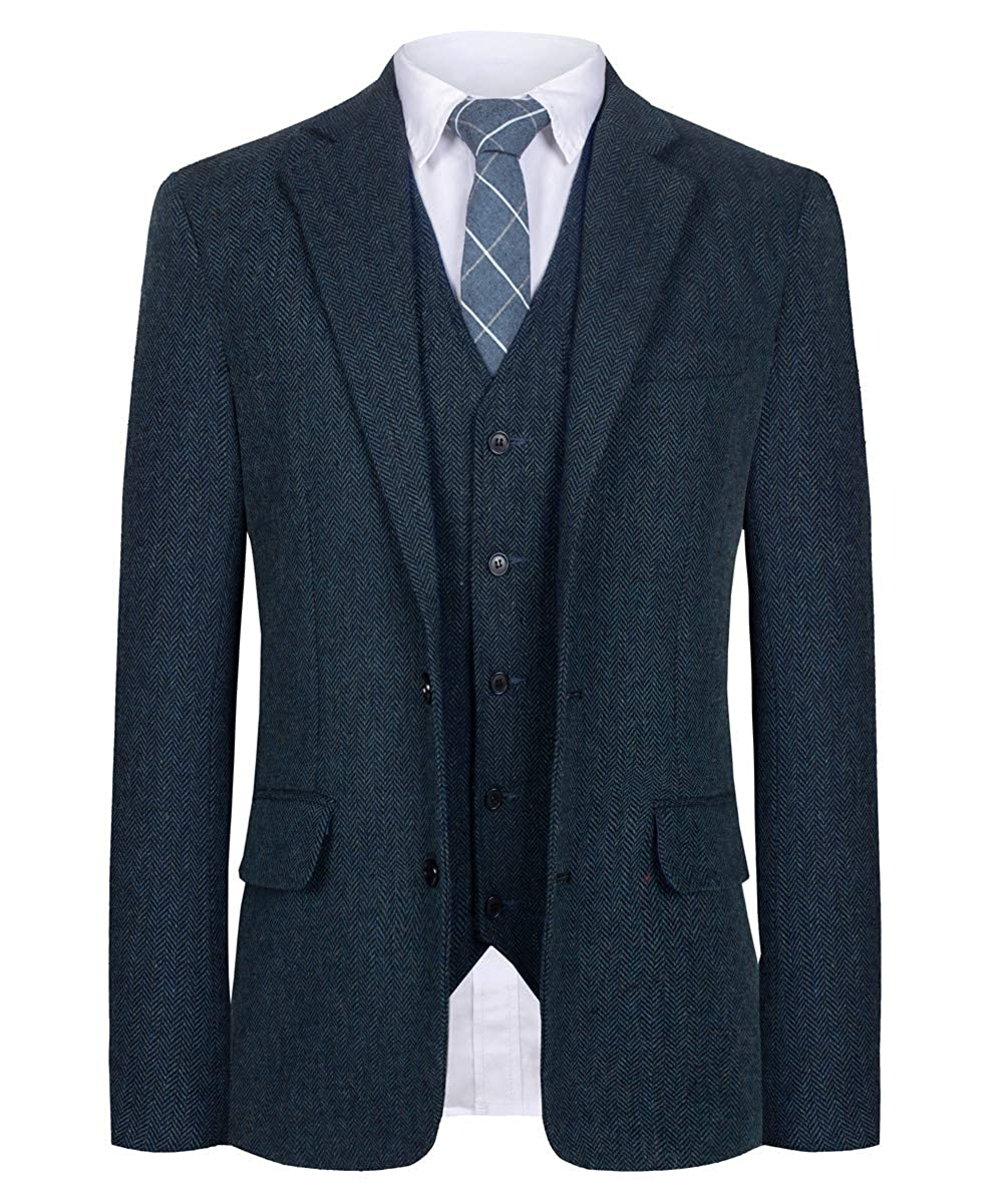 Men's Vintage Style Suits, Classic Suits CMDC Men Suit Slim Fit Tweed Wool Blend Herringbone Vintage Tailored Modern Fit Suit $99.00 AT vintagedancer.com