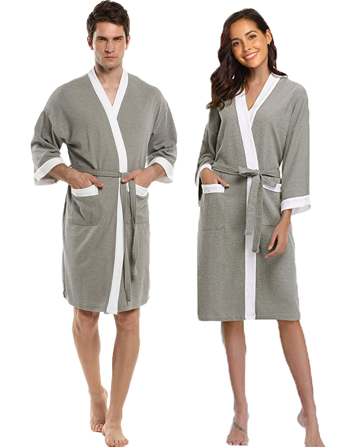 Amazon.com  Hotouch Men s Women s Robe Waffle Kimono Robes Lightweight Spa  Bathrobe Terry Cloth Robe M-XL  Clothing 25f6c0414