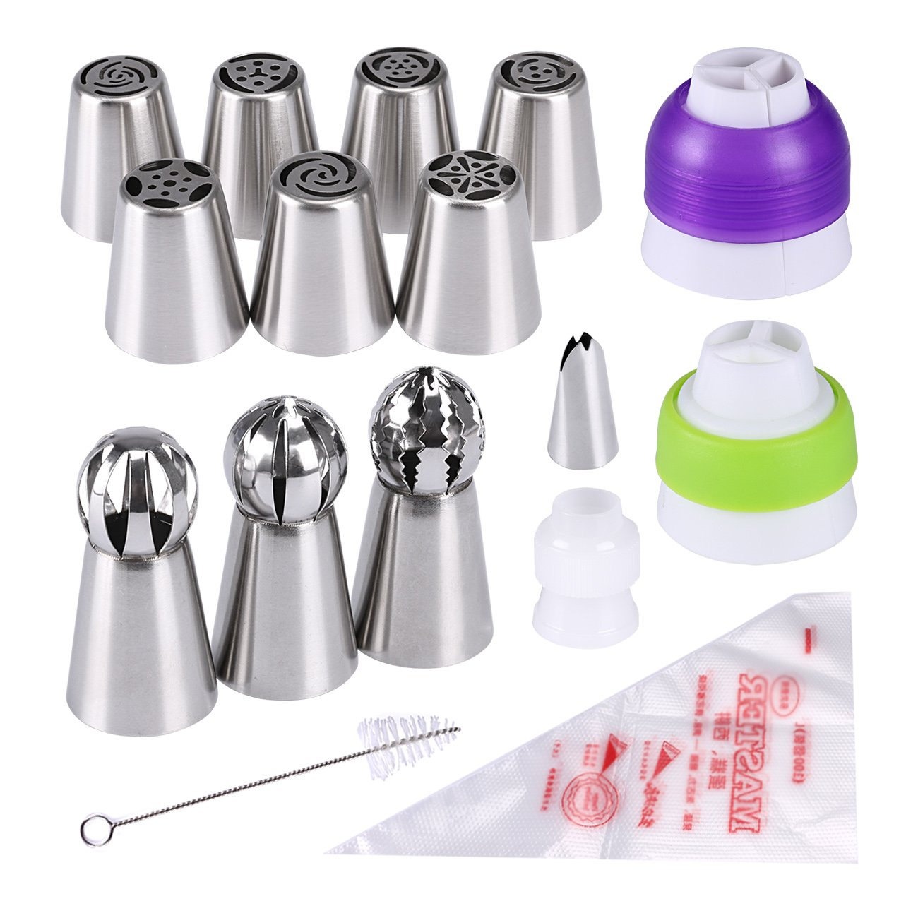 Cake Piping Nozzles, Seacue 25pcs Icing Piping Tips Set, Including 7 Russian Piping Tips/ 3 Torch Shaped Decorating Tips/ 1 Small Leaves Shaped Tip/ 3 Couplers/ Clean Brush/ 10 Disposable Piping Bags