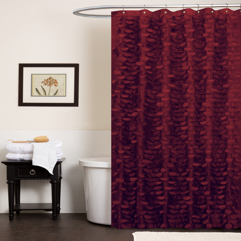 Red shower curtain - Amazon Com Lush Decor Georgia Shower Curtain 72 Inch By 72 Inch Burgandy Home Kitchen