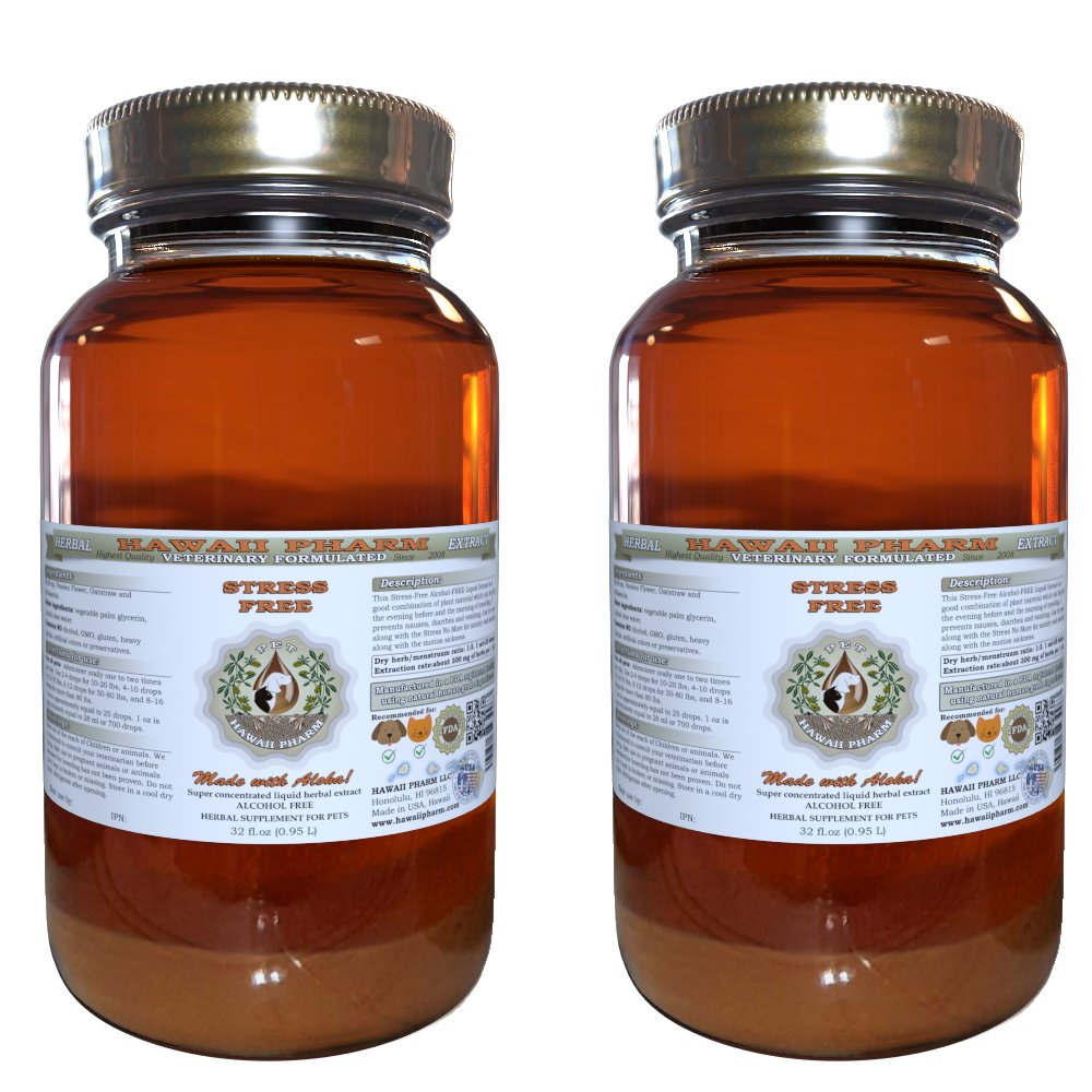 Stress-Free, VETERINARY Natural Alcohol-FREE Liquid Extract, Pet Herbal Supplement 2x32 oz