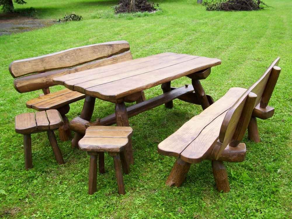... Für 10 Personen, Tisch, 2 Bänke, 2 Hocker, Rustikal Sitzgruppe  Gartengarnitur Terrassenmöbel Holzmöbel Gartenholzmöbel Essgarnitur Garten  Bank Tisch ...
