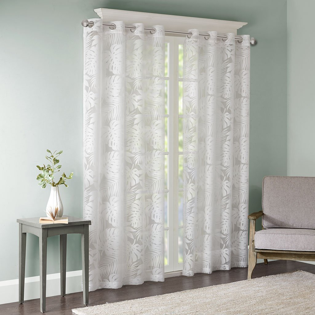 Madison Park Sheer Curtains for Bedroom, Coastal White Sheer Curtains 84 inches Long for Living Room, Leilani Coastal Fabric Grommet Sheer Curtain, 50X84, 1-Panel Pack