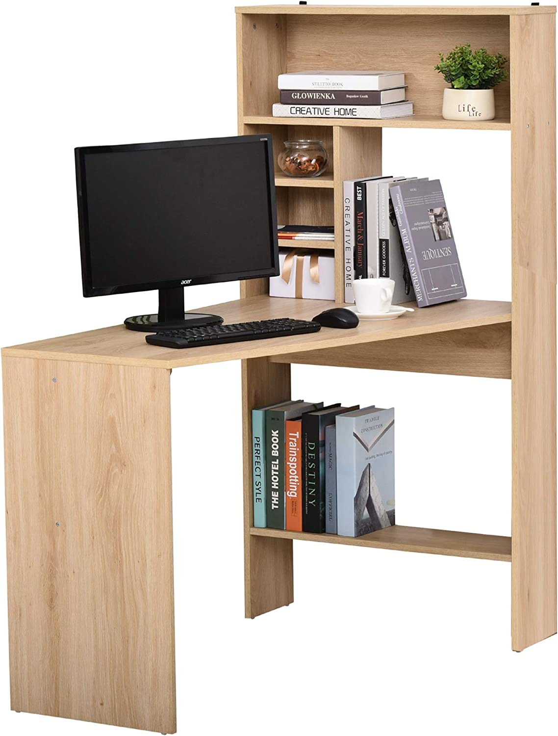 Amazon.com: HOMCOM Nordic Style Wooden Computer Desk Workstation