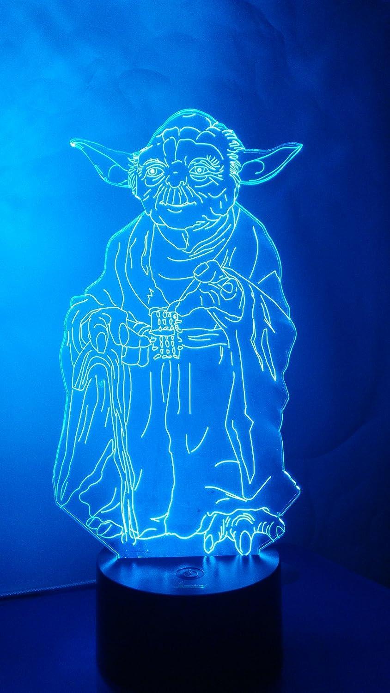 Loveboat USB給電 7色 光のイリュージョン 3D発光LEDランプアート 彫刻 照明 独自の照明効果と3Dビジュアル家庭装飾用 B019FSTQDY Master Yoda