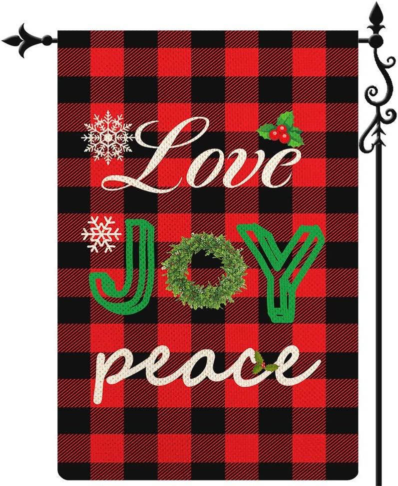 Coskaka Merry Christmas Garden Flag Xmas Love Joy Peace Flag Vertical Double Sided Rustic Farmland Buffalo Check Plaid Burlap Yard Lawn Outdoor Decor 12.5x18 Inch