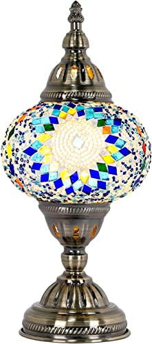 Marrakech Handmade Turkish Moroccan Mosaic Glass Table Desk Bedside Lamp Light with Bronze Base LED Bulb Blue