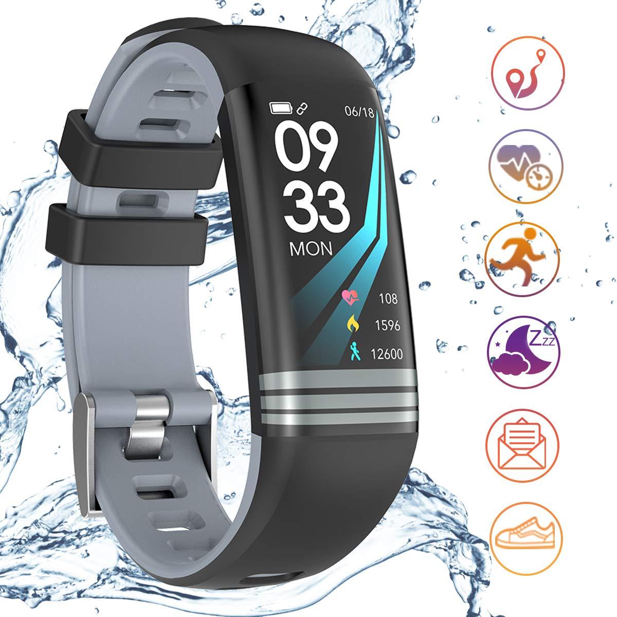 Yakuin Pulsera Actividad Inteligente Podómetro Pulsómetro Impermeable IP67 Pantalla Color Frecuencia Cardíaca Multi-Deporte SMS SNS Monitor de Sueño Mujer Ninos Hombre iOS Andriod iPhone (Black)
