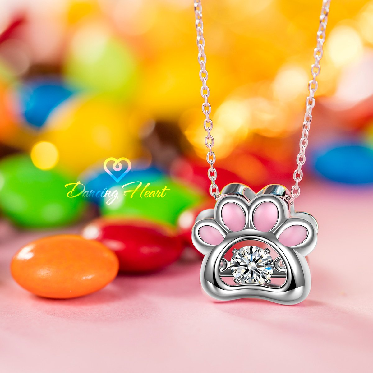 The Diamond Keeps Moving as if it is Dancing Gift Box Packaged Fine Jewelry Dancing Stone Necklace DANCING HEART 925 Sterling Silver /♥Puppy Love/♥ Animal Paw Necklace