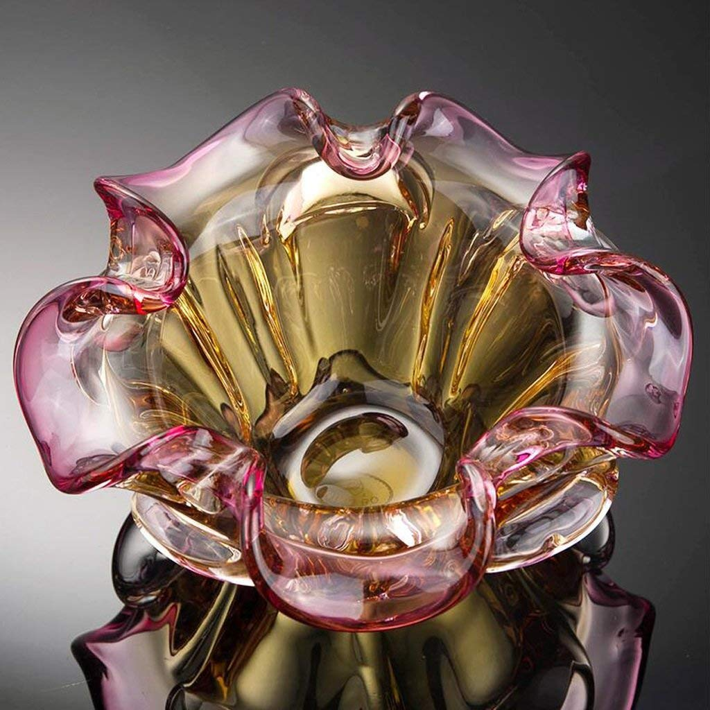 Huasen Home Ashtray Ashtray Red and Yellow Living Room Creative Fashion Personality Crystal Glass Petals Hand Blown Office Ashtray by Huasen (Image #1)