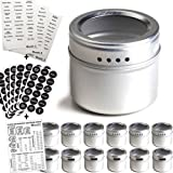 12 Magnetic Spice Tins & 2 Types of Spice Labels, Authentic by Talented Kitchen. 12 Storage Spice Containers, Window Top w/Si