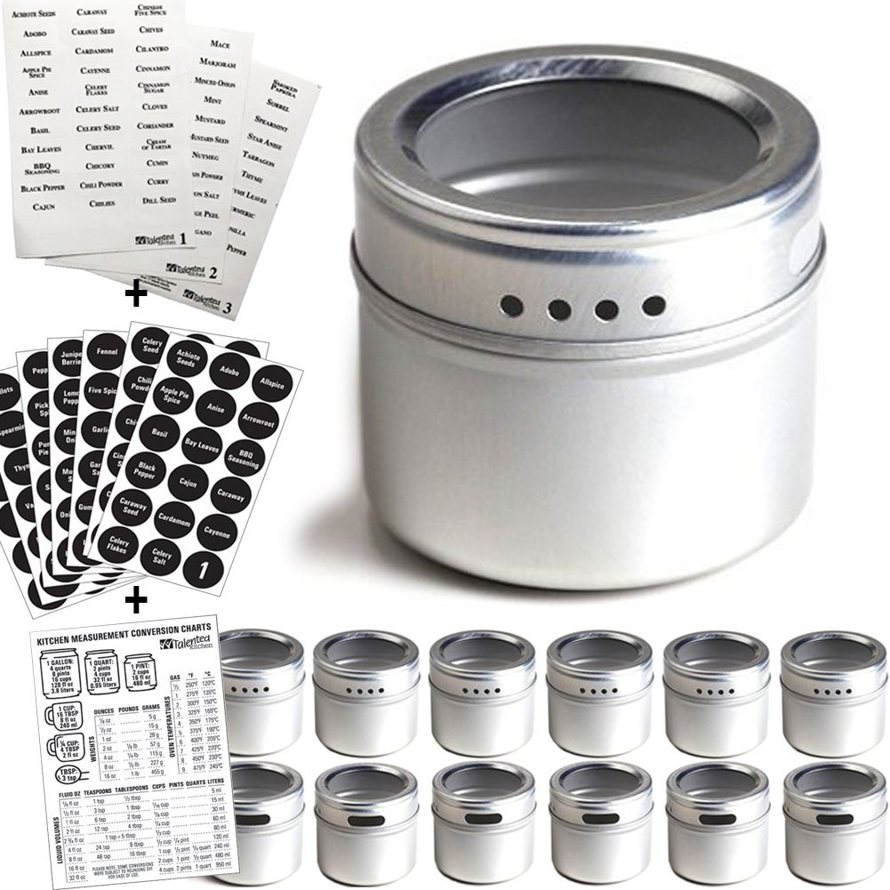 12 Magnetic Spice Tins & 2 Types of Spice Labels, Authentic by Talented Kitchen. 12 Storage Spice Containers, Window Top w/Sift-Pour. 113 Clear & 126 Chalkboard Stickers. Rack Magnetic On Refrigerator