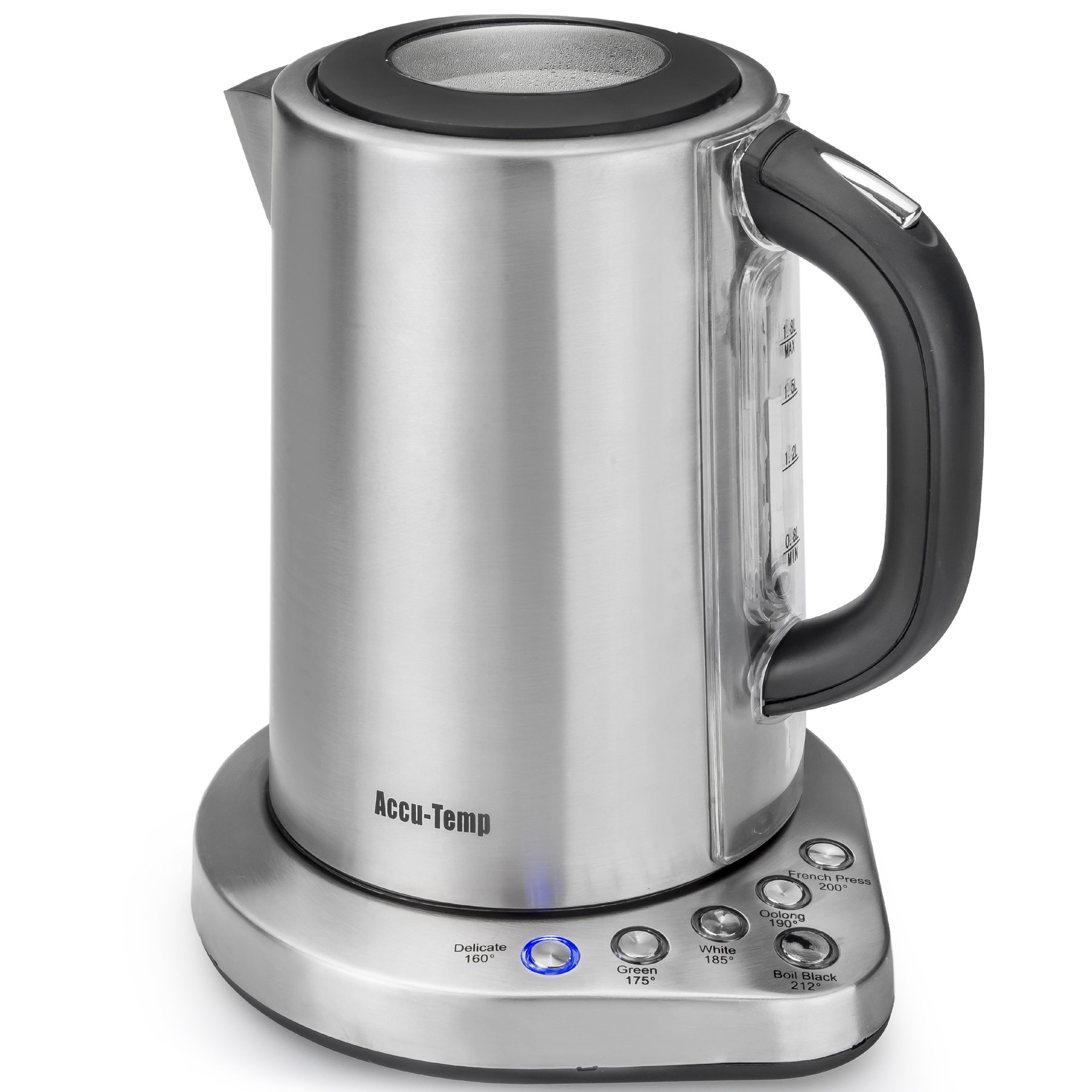 STX Accu-Temp Model STX-AT-EKSS Brushed Stainless Steel 1.8 Liter (7.6 cups), 1500 Watt, Cordless Electric Kettle Featuring 6 Precise Preset Temperatures and UL Certified Strix Temperature Controller