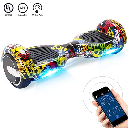 "BEBK Hoverboard, 6.5"" Elektro Scooter mit APP Funktion, Bluetooth Lautsprecher, 500W Motor, LED, Self-Balance E-Skateboard"