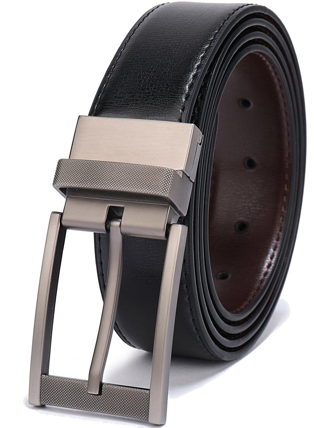 Belts for Men Reversible Leather 1.25'' Waist Strap Fashion Dress Buckle Beltox(34-36,Sub-brushed Buckle Black/Brown)