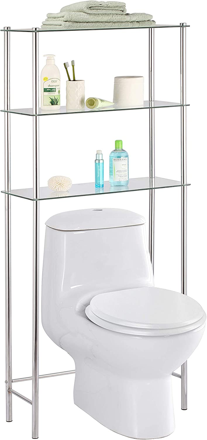 Home Basics 3 Tier Shelf Over The Toilet Space Saver With Tempered Glass Shelves For Bathroom Storage And Organization Chrome