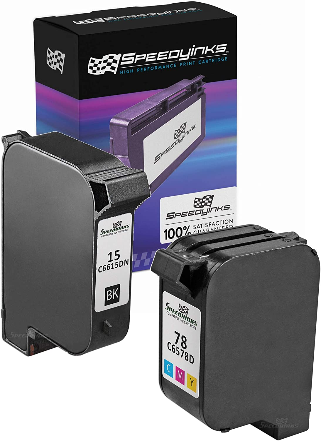 Speedy Inks Remanufactured Ink Cartridge Replacement for HP 15 & HP 78 (1 Black, 1 Color, 2-Pack)