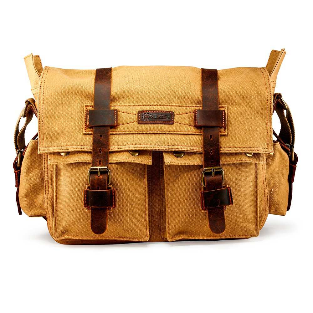 8d8549248d05 Amazon.com  GEARONIC Mens Canvas Leather Messenger Bag for 14