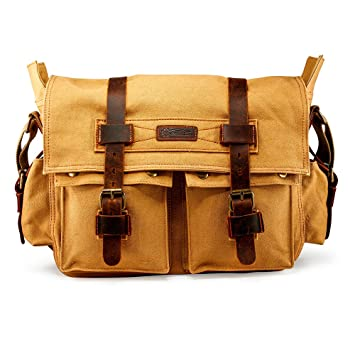 be2486677fa9 Image Unavailable. Image not available for. Color  GEARONIC Mens Canvas  Leather Messenger Bag for 14 quot  17 quot  Laptop Satchel Vintage Shoulder  Rugged