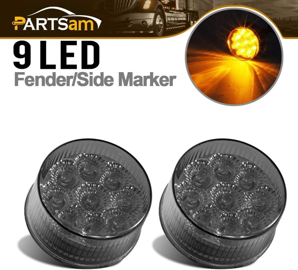Sealed 2 Round Led Marker Lights for Trucks Partsam 2Pcs 2 Round Amber Led Side Marker Lights 9 Diodes Smoke Lens w Reflectors Trailer Truck Lights Lamps Waterproof 12V