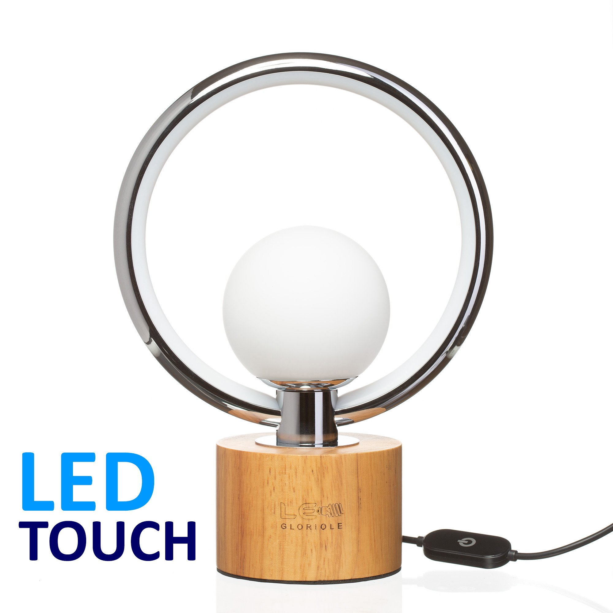 Modern LEDGloriole Desk Lamp with Unique Shade – Bedroom Lamps with Natural Wooden Base – Luxury Bedside Table Lamp – Well-Designed LED Light Perfect for Bedroom or Office