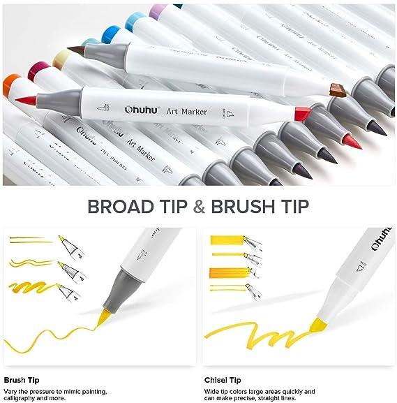 feiner Pinsel zum Skizzieren Kalligraphieren grober Brush Marker f/ür Entw/ürfe und Comics Zeichnen und Illustrieren doppelseitige Farbspitze Pinsel Marker Stift mit 48 Farben von Ohuhu