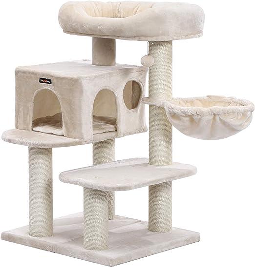 FEANDREA Árbol para Gatos, con Plataforma de Observación XXL, Tumbona de la Cesta y Cueva Grande, Postes Gruesos Envueltos en Sisal, Estable, Beige PCT01M: Amazon.es: Productos para mascotas