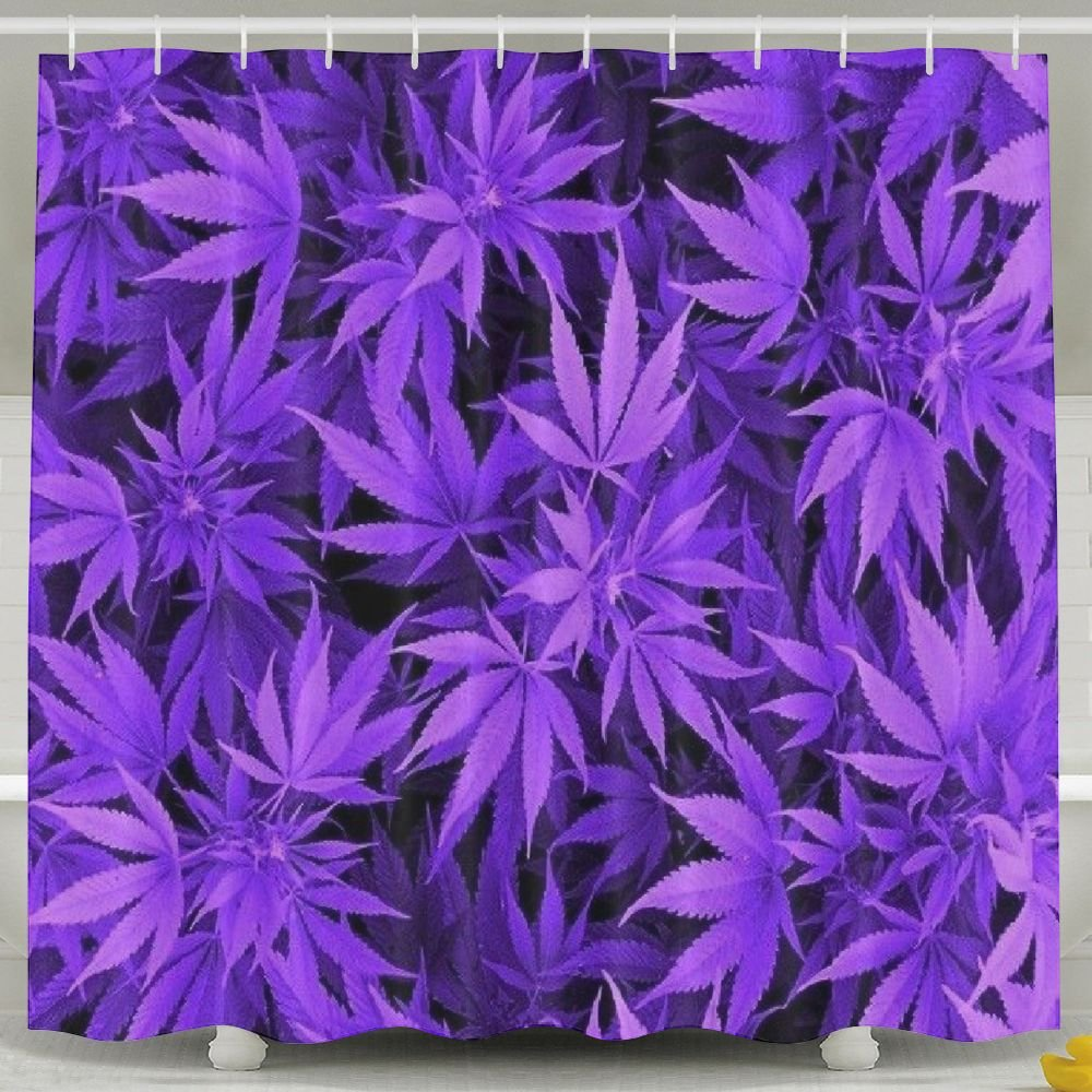 Lalamin Purple Marijuana Weed Leaf Polyester Shower Curtain Set 60x72 inches Bath Curtains, Waterproof Mold Mildew Resistant Unique Art Designed for Bathroom