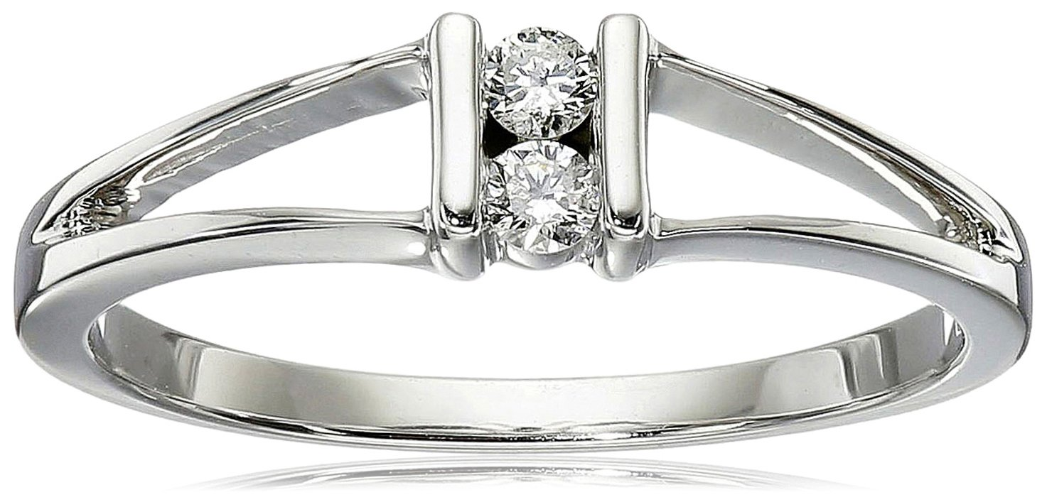 10k White Gold 2-Stone Split-Bale Diamond Ring (0.08 cttw, J-K Color, I2-I3 Clarity), Size 6