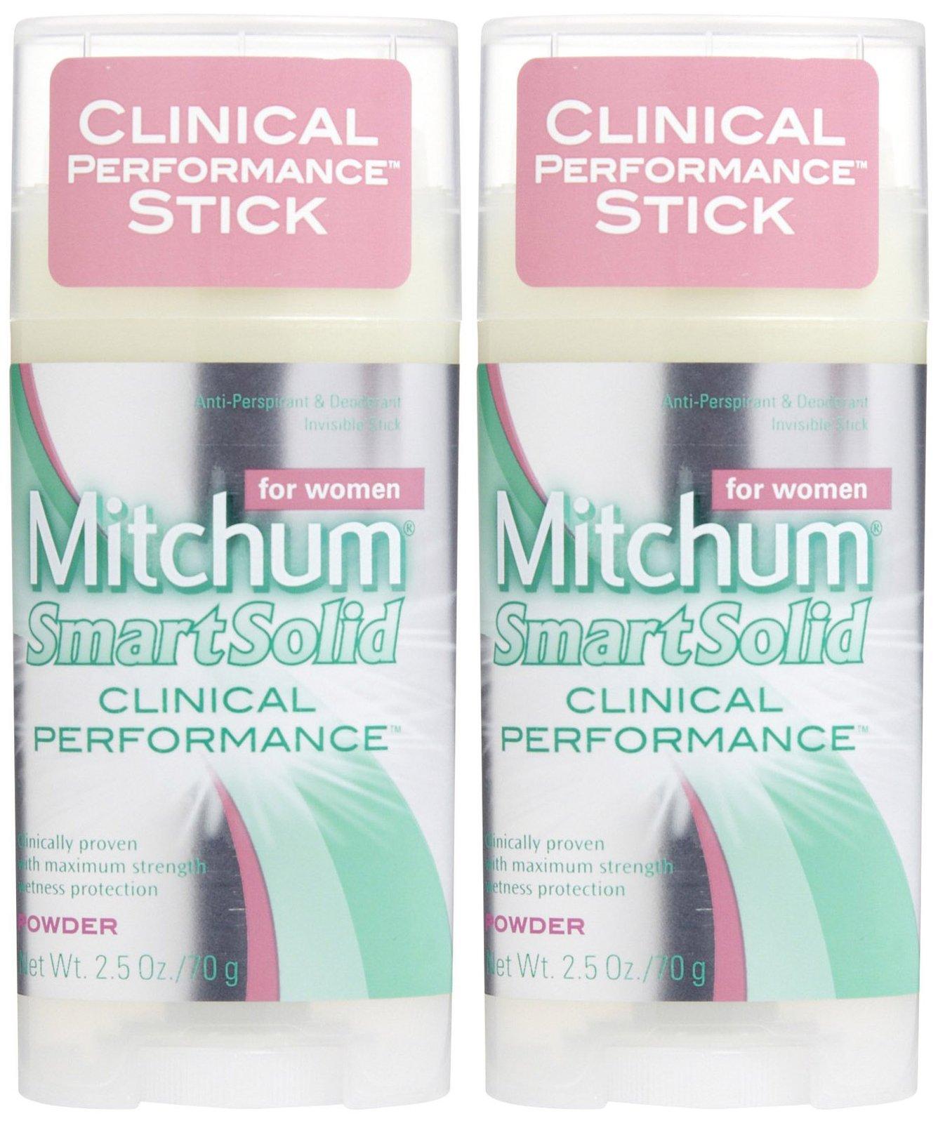 Mitchum Women Smart Solid Clinical Performance Antiperspirant & Deodorant, Powder - 2.5 oz - 2 pk