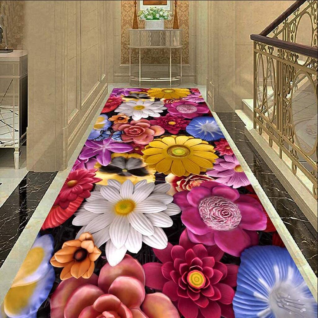 Full Shop Can Be Customized AO-Entrance Corridor 3D Corridor Carpet Aisle Consumer and Commercial Strip Carpet Home Mat Bathroom Mat Size : 1.23m
