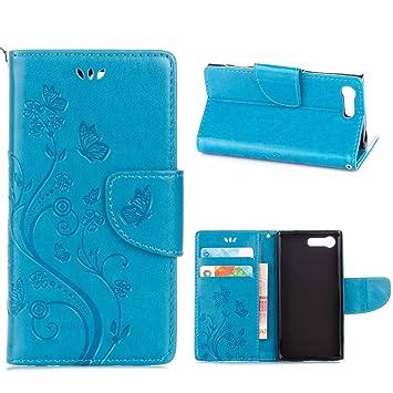 Sony Xperia X Compact Funda, MSK® Funda Flor de mariposa gofrado Billetera Cartera Monedero Con Soporte Funda Caso Case Para Sony Xperia X Compact ...