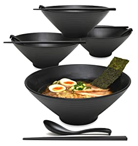 4 sets (12 piece) 57 fl oz Large Japanese Ramen Noodle Soup Bowl Melamine Hard Plastic Dishware Set with Matching Spoon and Chopsticks for Udon Soba Pho Asian Noodles