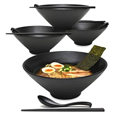 4 Sets (12 Piece) 57 Ounce Large Japanese Ramen Noodle Soup Bowl Melamine Hard Plastic Dishware Set with Matching Spoon and Chopsticks for Udon Soba Pho Asian Noodles (4, Black, 9 inches)