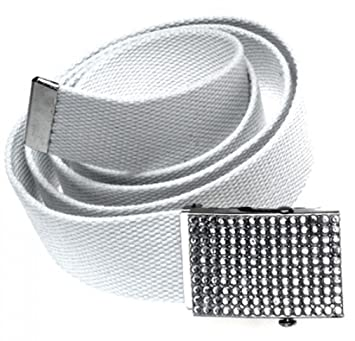 grossiste 4fe33 80ac3 Ceinture blanche Web - Boucle avec strass - ceinture en ...
