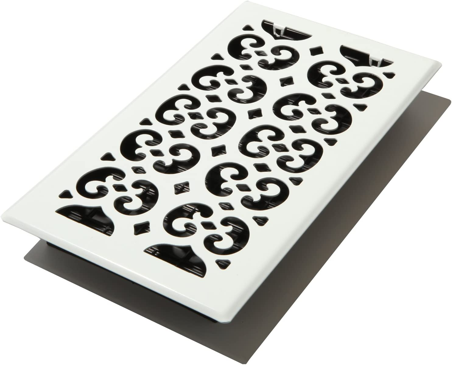 Decor Grates FSH612-WH Scroll Floor Register, 6-Inch by 12-Inch, White